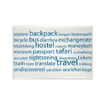 Travel Tag Cloud Rectangle Magnet
