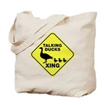 Talking Ducks Crossing Tote Bag