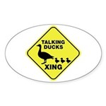 Talking Ducks Crossing Sticker (Oval)