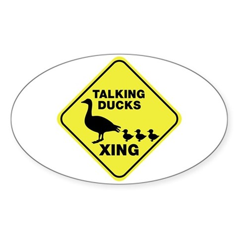 Talking Ducks Crossing Oval Sticker