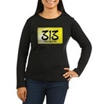 313 License Plate Women's Long Sleeve Dark T-Shirt