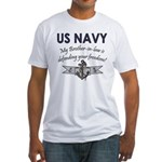 Navy Brother-in-law defending Fitted T-Shirt