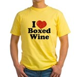 I Heart Boxed Wine Yellow T-Shirt