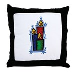 Woodblock Candles Throw Pillow