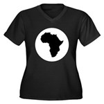Africa Women's Plus Size V-Neck Dark T-Shirt