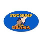 Fist Bump for Obama 38.5 x 24.5 Oval Wall Peel