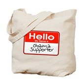 Obama Supporter Name Tag Tote Bag