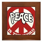 Peace is the word Framed Tile