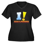 I ! Halloween Women's Plus Size V-Neck Dark T-Shirt