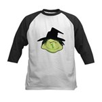 Happy Green Witch Kids Baseball Jersey