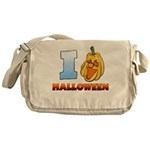 I Love Halloween Canvas Messenger Bag