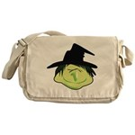 Happy Green Witch Canvas Messenger Bag