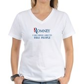 Anti-Romney: Fire People Women's V-Neck T-Shirt