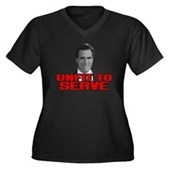 Anti-Romney: Unfit To Serve Women's Plus Size V-Ne
