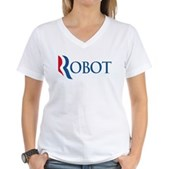 Anti-Romney ROBOT Women's V-Neck T-Shirt