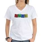 Teacher made of Elements whimsy Women's V-Neck T-Shirt