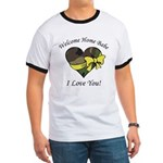 Welcome Home Babe Camo Heart Ringer T