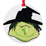 Happy Green Witch Round Ornament