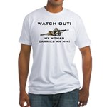 WATCH OUT MILITARY WOMAN M-4 Fitted T-Shirt