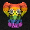 Baby Elephant with Glasses and Gay Pride Rainbow F