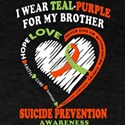 I Wear Teal Purple For My Brother T Shirt T-Shirt