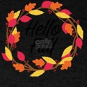 Hello Fall Thanksgiving Leaves Halloween D T-Shirt