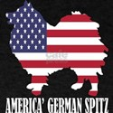 American German Spitz Dog Flag Memorial Da T-Shirt