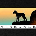 airedale terrier sunset cliff Black T-Shirt
