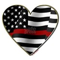 Thin Red Line Flag Heart T-Shirt