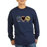 Peace Love Dive Long Sleeve Dark T-Shirt