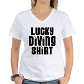 Lucky Diving Shirt Women's V-Neck T-Shirt
