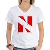 Scuba Flag Letter N Women's V-Neck T-Shirt