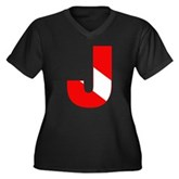 Scuba Flag Letter J Women's Plus Size V-Neck Dark