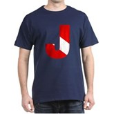 Scuba Flag Letter J Dark T-Shirt
