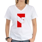 Scuba Flag Letter F Women's V-Neck T-Shirt