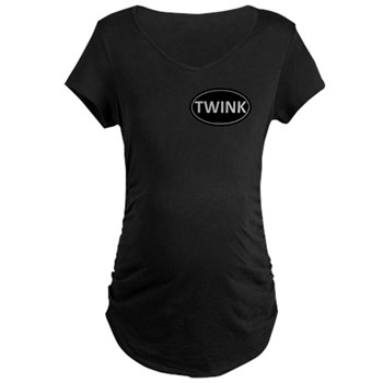 TWINK Black Euro Oval Maternity Dark T-Shirt